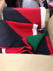 Bandiere in segno di solidarietà con Gaza