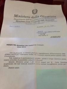 La lettera di ringraziamento del direttore del carcere di Avezzano
