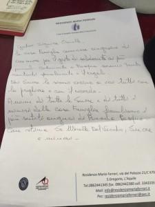 La lettera di ringraziamento dell'Istituto Maria Ferrari