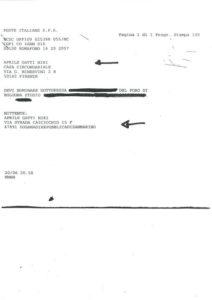 Il telegramma ricevuto da Niki in carcere. Notate il nome del mittente e del destinatario.